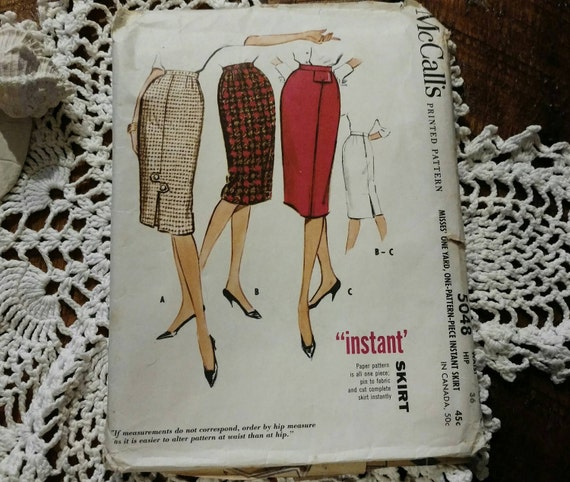 retro pencil skirt pattern by mccalls vintage fashion plate
