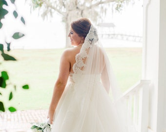 Mantilla Veil, lace veil, Ready to ship, Cathedral Mantilla Veil, Cathedral length wedding veil. White Mantilla Veil w/ lace border.