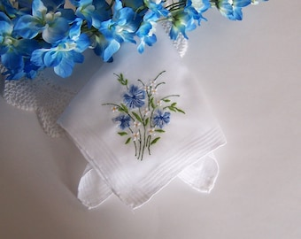 Wedding Handkerchief, Something Blue Floral Design for a Bride's Happy Tears, Shower Gift with Complimentary Gift Envelope