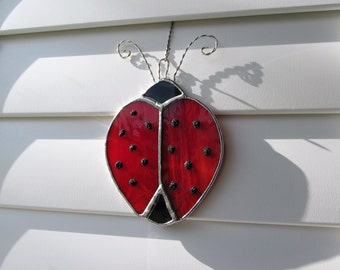 """Stained Glass """"Ladybug"""" Sun Catcher - Authentic Stained Glass - Whimsical Gift Idea -"""