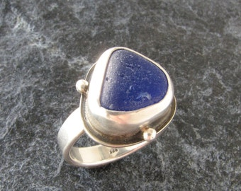 Sea Glass Ring Size 6.5 in Cobalt Blue Beach Glass Jewelry
