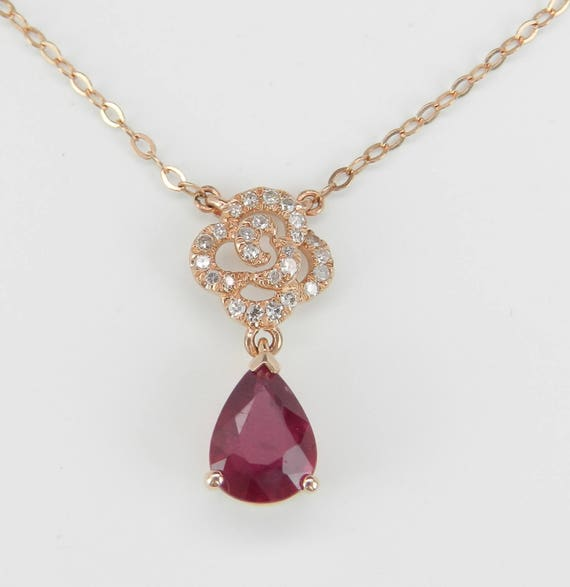 """Ruby and Diamond Drop Pendant 14K Rose Gold Necklace 17"""" Chain July Birthstone"""