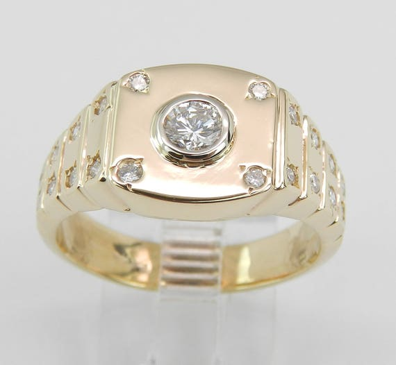 Unisex 14K Yellow Gold Diamond Gypsy Signet Style Ring Size 9 Unique Design