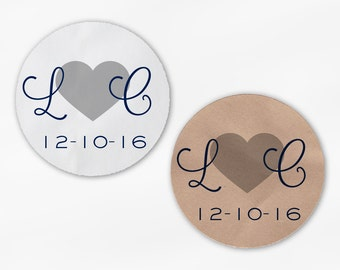 Initials and Heart Wedding Favor Stickers - Navy Blue & Silver Custom Candy Buffet White, Kraft Round Labels for Bag Seal, Envelopes (2021)