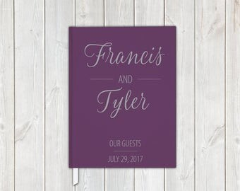 Plum Purple and Gray Scipt Wedding Guest Book with Bride and Groom, Date - Personalized Traditional Guestbook, Journal, Album