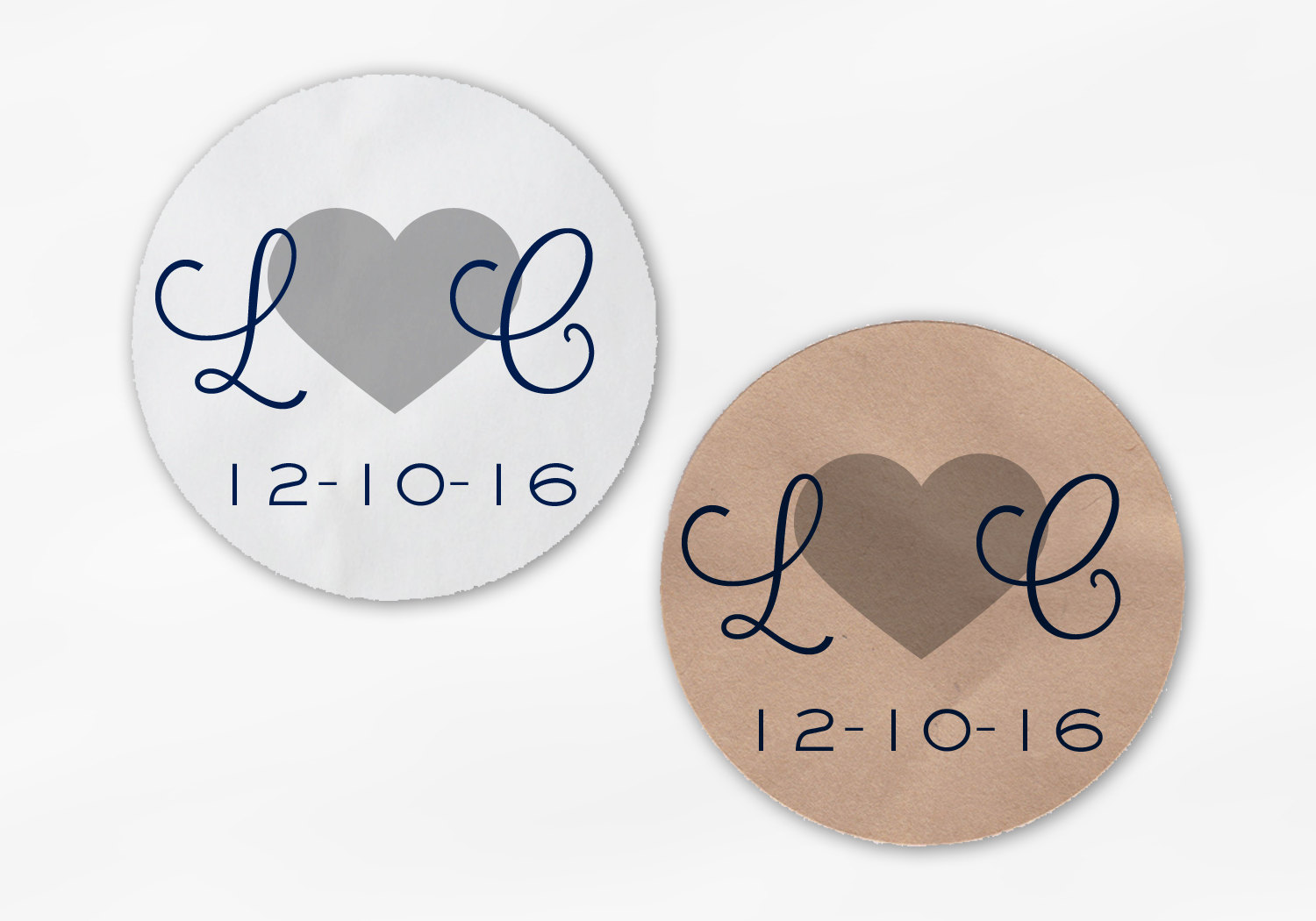 Initials And Heart Wedding Favor Stickers Navy Blue