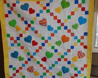 Primary Colors Quilt, Hearts Baby Quilt, Irish Chain Baby Quilt 0121-02