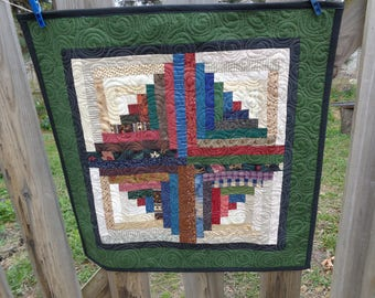 Log cabin quilt, scrappy quilt, Small quilt 0427-04