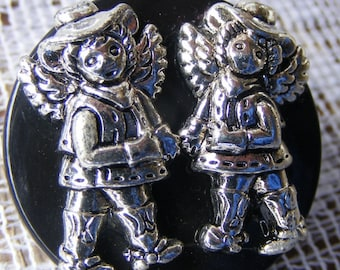 Western Girl Twin Angels ID Badge Tag Key Glass Holder Reel Lanyard Retractable Reel OOAK NEW