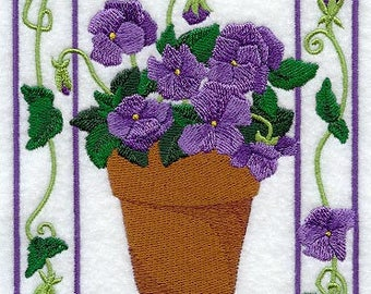 Potted Violets Medley Embroidered on Kona Cotton Quilt Block // Plain Weave Cotton Dish Towel // Also Available on Other Items