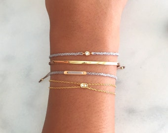 minimal gold filled bar layering bracelet. dainty friendship bracelet.