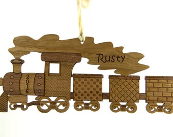 Christmas Tree Ornament - Wooden Train Customizable with a Name and Year