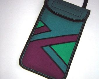 iPhone 7 plus case Smartphone Pocket cellphone crossbody - neck purse Small shoulder geometrics phone cover Mini Sling Bag turquoise purple