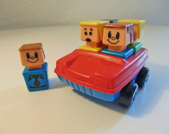 vintage Playskool McDonald's square people 5 figures and car Item 480
