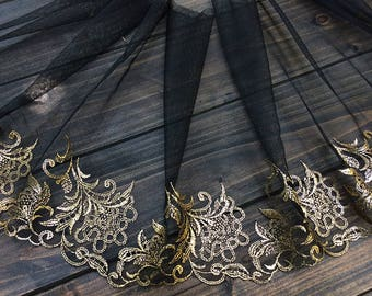 """5 meter 26cm 10.23"""" wide black gold tulle fabric embroidered tapes lace trim ribbon P15C24J0404X free ship"""