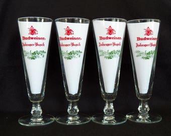 Vintage Budweiser Beer Glasses - Set of Four Barware - Bar Room Glasses - Anheuser-Busch Glasses - Beer Glasses - Bar Glassware - Home Decor