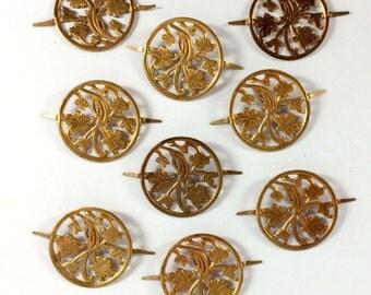 Vintage Brass Leaf Connectors, Filigree Leaf Stampings, Jewelry Supplies, Vintage Patina Brass, 26mm, Bsue Boutiques, Item08889
