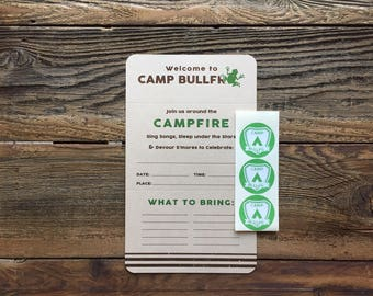 SALE - Camp Bullfrog - Camp Theme Party - Camping - Outdoor Party - Folding Invite with Sticker Seal - set of 6