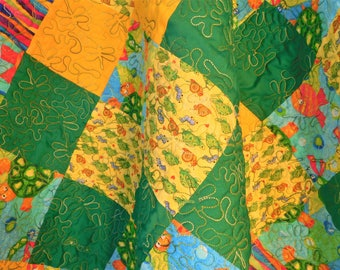 "Colorful  Baby Quilt, Wall Hanging, Nursery Decor, Baby Shower Gift, Green and Yellow, Turtles and Dragonflies Colorful Print, 38"" x 38"","