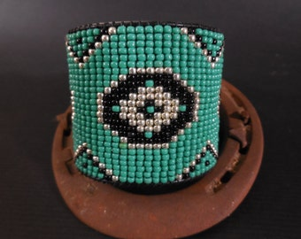 Cowgirl tribal bracelet cuff, turquoise bracelet cuff, black leather, gypsy cowgirl, country girl bracelet, cowgirl style