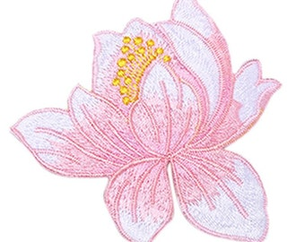 Lotus Flower Embroidery Iron On Applique light pink
