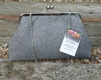 Kiss lock Purse, clutch purse, evening purse, wool tweed clutch bag, tweed evening bag.