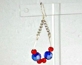 Handmade earrings red bue crystal hoop chain clip or pierced Pat2