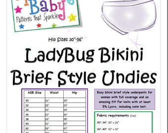 ASB LadyBug Bikini Brief Style Undies PDF Sewing Pattern  with 14 sizes! Low rise style briefs with full bum coverage!