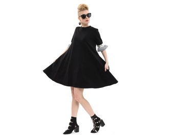 Black dress, Israeli designer, Unique Dresse, Oversized dress, Trendy Swing Dress with Pockets,knee length Dress, Loose dress
