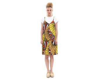 African Pattern -  Modern Sarafan Dress with White T shirt
