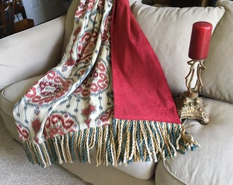Custom Ikat Moroccan Throw Blanket, Blue Red Tribal Quilt, Lap Rug, Boho Designer Throws, Luxurious Accent, Mother's Day Gift Bespoke OOAK