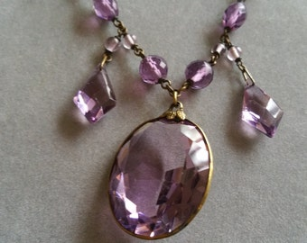 Antique Purple Crystal Festoon Victorian Necklace Beaded