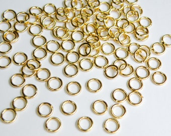 50 Jump Rings round open shiny gold plated brass 5mm 20 gauge A4880FN