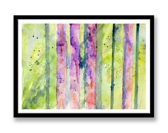 Original Watercolor Painting // Abstract Trees //  watercolor // lines // dramatic // Abstract watercolor painting