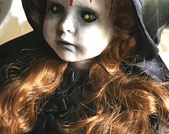 ooak creepy art doll/  goth  / zombie repaint musical doll. Halloween prop. free shipping
