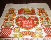 1967 Vintage Linen Calendar Towel Happy Heart Farm Country Kitchen
