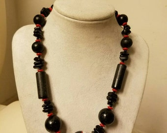 Black and White Poka Dot with Red Beaded Lucite Necklace