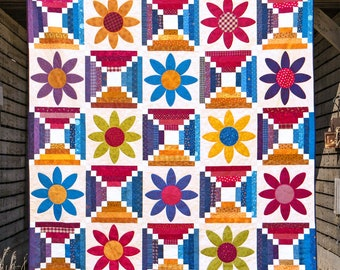 DESERT FLOWERS | pdf Quilt Pattern | Patterns | Quilts | Floral Quilts | Flower Quilts | Applique Quilts | Happy Quilts | Modern Quilts