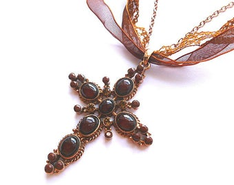 COPPER DESIGNER Cross Necklace, Queen Size Copper Cross with Rhinestones, Cabochons, Ribbon & Lace, Copper Cross with Neck Chain