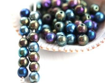 4mm Iris Beads mix, Metallic Blue Purple Green Czech glass beads, round spacers, druk, small beads - about 90pc - 2208