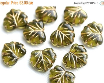 ON SALE 10pc Olive green leaf beads, Maple glass leaves, Olivine czech beads, Golden inlays - 11x13mm - 0466