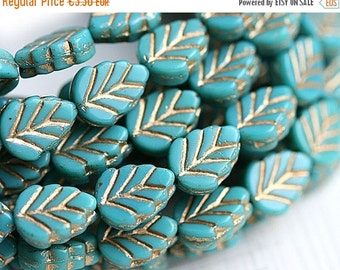 ON SALE Leaf beads - Turquoise beads, golden inlays, Czech glass pressed leaves - 11x8mm - 10Pc - 0508