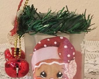 Gingerbread Candle Holder.Housewarming Gift. Holiday Decor. Battery Light. Ready to Ship