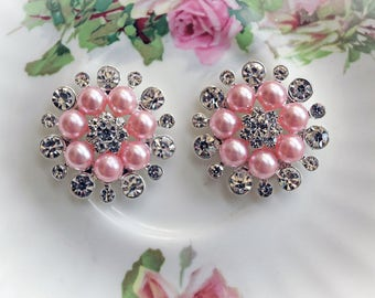 Reneabouquets Trinket- Pink Pearl and Rhinestone Metal Shank Button Set Of 2, 1 1/4 inch, Scrapbook Embellishment, Wedding