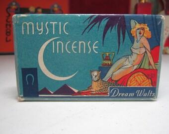 1920's- 30's art deco box advertising Mystic Incense Dream Waltz deco label shows egyptian pyramids crescent moon scantily clad lady cheetah