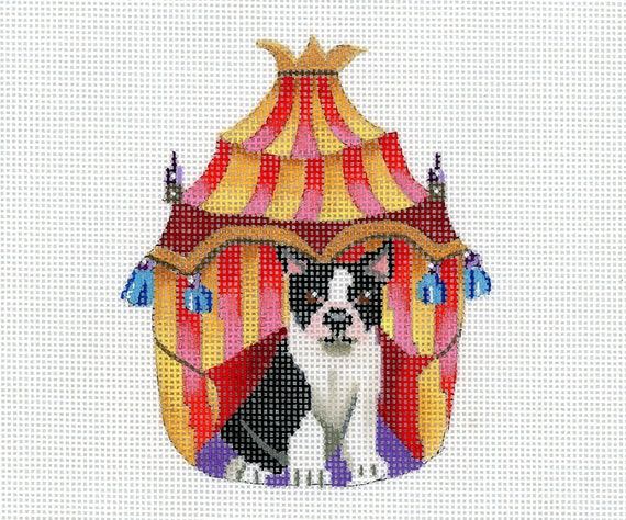 Hand Painted Needlepoint Dog Canvas - Boston Terrier