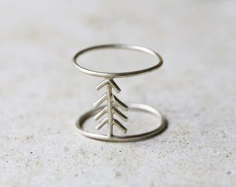 Fir tree ring, Sterling silver fir tree jewelry, stackable ring, Boho ring, double ring, nature ring, skinny ring