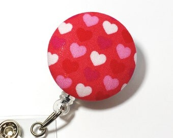 Valentine Heart Name badge Retractable Badge Reel badge reel nurse badge reel badge holder id badge holder nurse badge clip