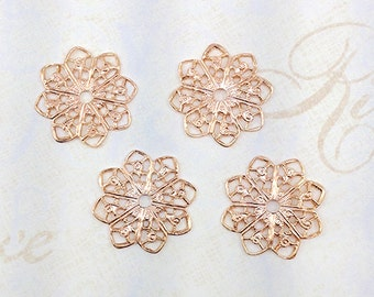 Rose Gold Filigree, Flower Filigree, Brass Flower, Brass Stamping, Filigree Connector, 20mm - 4pcs. (rg105)