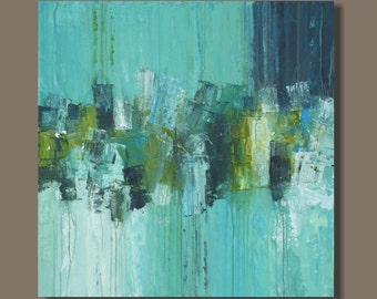 FREE SHIP large abstract painting, robins egg blue, turquoise blue modern art, minimalist, square format, wall art on canvas, drip technique